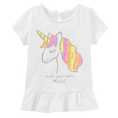 Baby Girl OshKosh B'gosh® Sequined Unicorn Peplum-Hem Tee