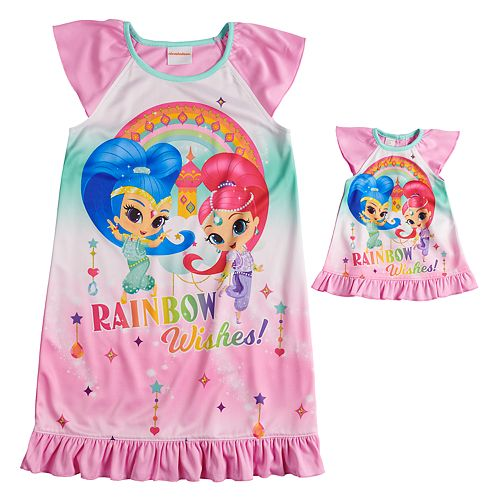 """Girls 4-8 Shimmer & Shine """"Rainbow Wishes"""" Nightgown & Doll Gown Set"""