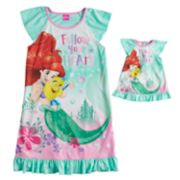 "Disney's Ariel & Flounder Girls 4-8 ""Follow Your Heart"" Nightgown & Doll Gown Set"