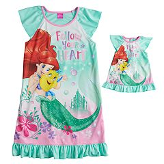 Disney's Ariel & Flounder Girls 4-8 'Follow Your Heart' Nightgown & Doll Gown Set