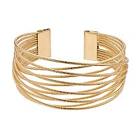 Gold Tone Twisted Wire Cuff Bracelet
