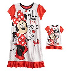 Disney's Minnie Mouse Girls 4-8 'All About the Dots' Nightgown & Doll Gown Set