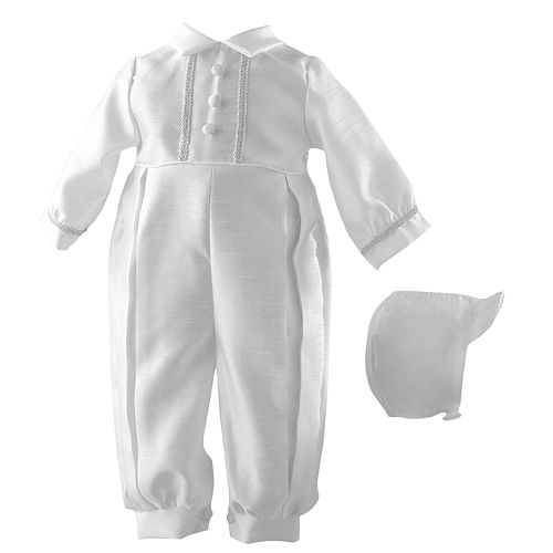 Baby Boy Small World Christening Coverall & Hat Set