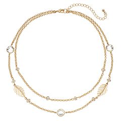 Simulated Crystal & Leaf Link Nickel Free Multistrand Necklace