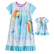 Girls 4-8 My Little Pony Rainbow Dash Nightgown & Doll Gown Set