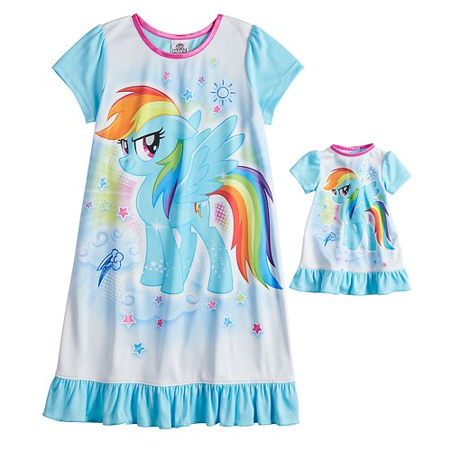 42197e8f9d01 Girls 4-8 My Little Pony Rainbow Dash Nightgown   Doll Gown Set