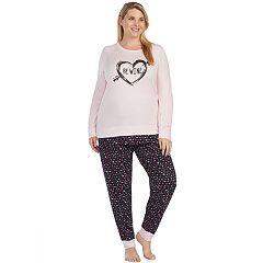 Plus Size Cuddl Duds Simply Sweet Long Sleeve Top & Jogger Pants Pajama Set