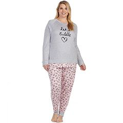 Plus Size Cuddl Duds Simply Sweet Long Sleeve Top & Jogger Pants Pajama Set