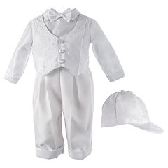 Baby Boy Small World Christening Dobby Vested Coverall & Hat Set