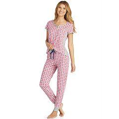 Women's Cuddl Duds Weekend Getaway Short Sleeve Top & Jogger Pants Pajama Set