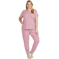 Plus Size Cuddl Duds Weekend Getaway Short Sleeve Top & Jogger Pants Pajama Set