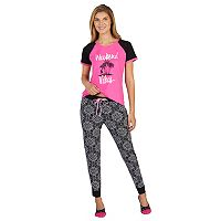 Women's Cuddl Duds 3-Piece Graphic Tee, Jogger & No Show Sock Pajama Set