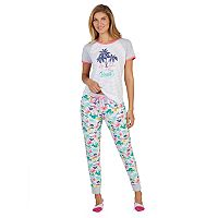 Women's Cuddl Duds 3 pc Graphic Tee, Jogger & No Show Sock Pajama Set