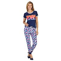 Women's Cuddl Duds 3-Piece Graphic Tee, Jogger & No Show Sock Pajama Set