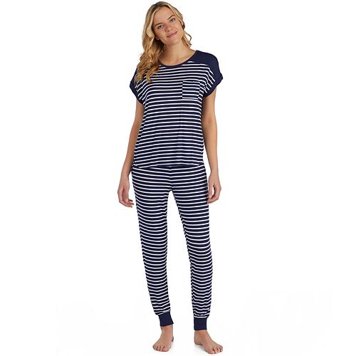 6d9e4f190541 Women s Cuddl Duds Striped Keyhole Sleep Tee   Banded Bottom Sleep Pants  Pajama Set