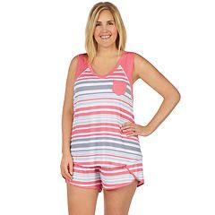 Plus Size Cuddl Duds Printed Tank & Boxer Shorts Pajama Set