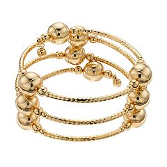 Gold Tone Textured Bead Coil Bracelet