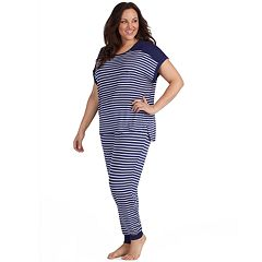 Plus Size Cuddl Duds Striped Keyhole Tee & Jogger Pajama Set