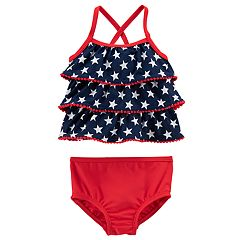 Baby Girl Carter's American Flag Tankini & Bottoms Swimsuit Set