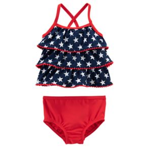 Baby Girl Carter's American Flag Tankini & Bottoms Swimsuit Set