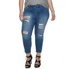 Plus Size Jennifer Lopez Ripped Crop Super Skinny Jeans