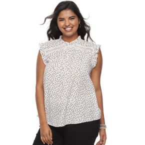 Juniors' Plus Size HeartSoul Ruffle Mockneck Top