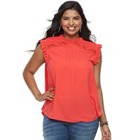 Juniors' Plus Size Heart & Soul Ruffle Mockneck Top