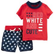 "Baby Boy Carter's ""Red White & Cute"" Rashguard & Swim Trunks Set"