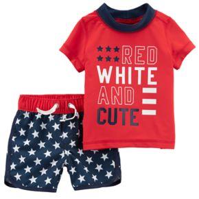 "Baby Boy Carter's ""Red White & Cute"" Rashguard & Swim Trunks Set"
