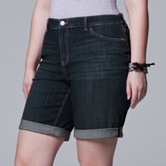 Plus Size Simply Vera Vera Wang Roll Cuff Bermuda Denim Shorts