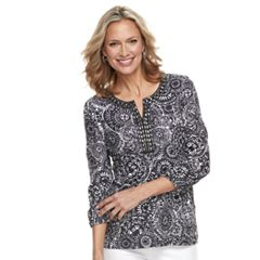 Women's Cathy Daniels Embellished Print Splitneck Top