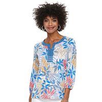 Women's Cathy Daniels Embellished Print Splitneck Top