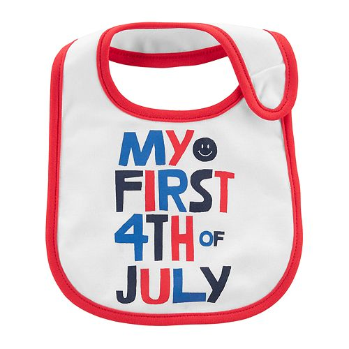 "Baby Carter's ""My First 4th of July"" Slogan Bib"