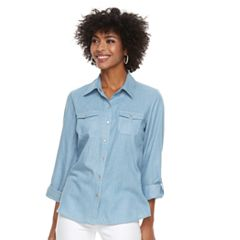 Women's Cathy Daniels Roll-Tab Chambray Shirt