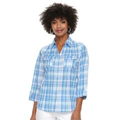 Women's Cathy Daniels Plaid Roll-Tab Shirt