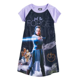"""Girls 6-14 Star Wars Rey """"Feel the Force"""" Nightgown"""