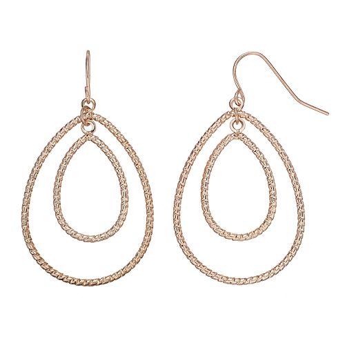 ea189fbe9 Textured Rose Gold Nickel Free Drop Earrings
