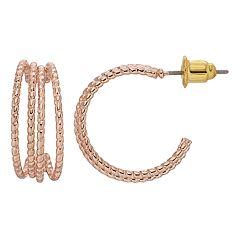 Textured Nickel Free Hoop Earrings