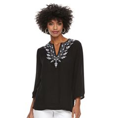 Women's Cathy Daniels Embroidered Splitneck Top