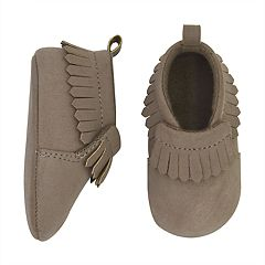 Baby Goldbug Brown Faux-Suede Fringe Moccasin Crib Shoes