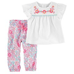 Baby Girl Carter's Embroidered Gauze Top & Floral Pants