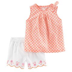 Baby Girl Carter's Floral Top & Embroidered Shorts Set