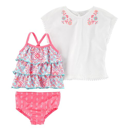 Baby Girl Carter's Ruffled Tankini, Tribal Swim Bottoms & Embroidered Cover-Up Set