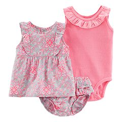 Baby Girl Carter's Floral Tank Top, Ruffled Bodysuit & Floral Bubble Shorts Set