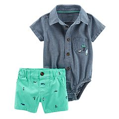 Baby Boy Carter's Button-Front Chambray Bodysuit & Surf Board Twill Shorts Set