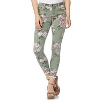 Juniors' Wallflower Floral Frayed-Hem Ankle Jeans