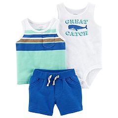 Baby Boy Carter's 'Great Catch' Graphic Bodysuit, Striped Tank Top & French Terry Shorts Set