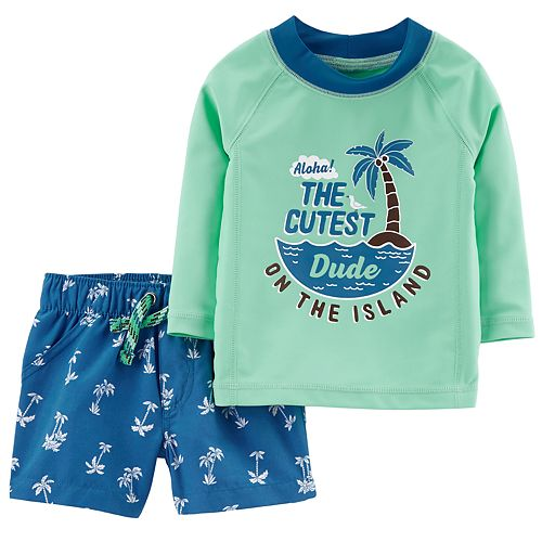 Baby Boy Carter's Graphic Rash Guard & Swim Trunks Set