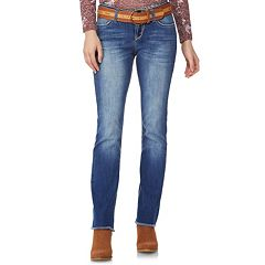 Juniors' Wallflower Legendary Frayed-Hem Belted Bootcut Jeans