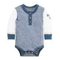 Baby Boy Burt's Bees Baby Striped Organic Henley Patch Bodysuit